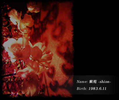 Name: 紫苑 -shion- Birthday: 1983.6.11